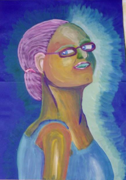geschilderd zelfportret 60 x 70cm
