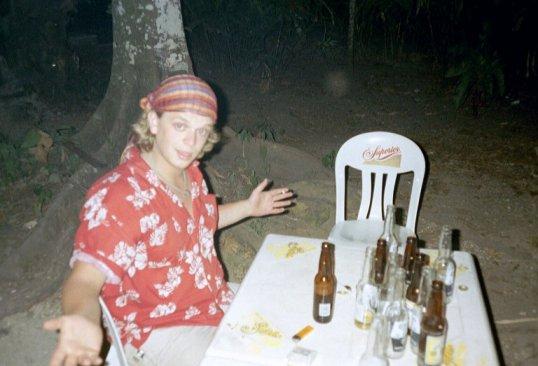 Met bandana om in de vochtige jungle van El Panchan