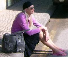 wachten op de bus in Alcudia