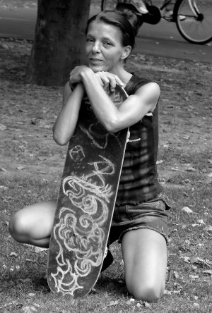 Otherside with her Skateboard