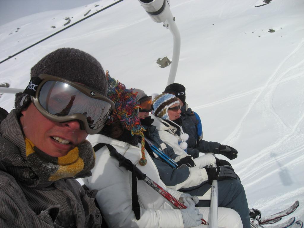 Skilift met de vrienden