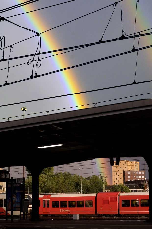 trein en regenboog, Groningen