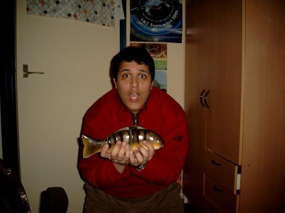 Chris en de vangst van de dag.