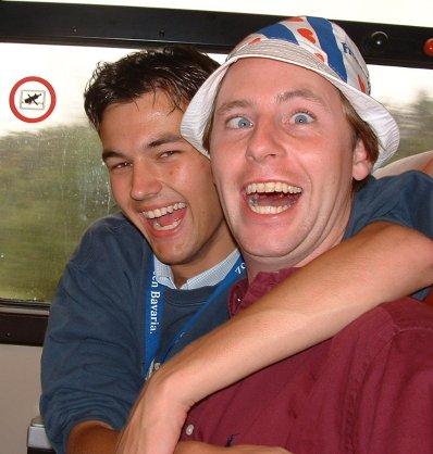 Samen met Dirk-Jan in de trein.