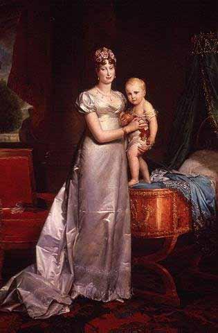 Mijn tweede vrouw Marie-Louise met mijn zoon Napoleon II